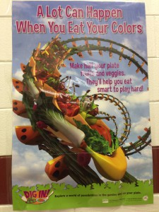 A poster from my nephew's middle school - the word is out: 1/2 your plate should be produce!
